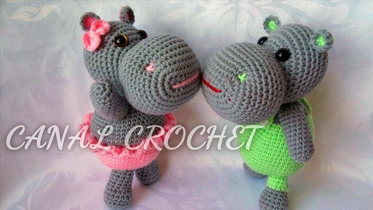 Hipopótamo Amigurumi  - Patrón Gratis en Español y con Vídeotuturial aquí: http://amigurumilacion.blogspot.com.es/2015/02/hipopotamo-amigurumi-patron-libre.html