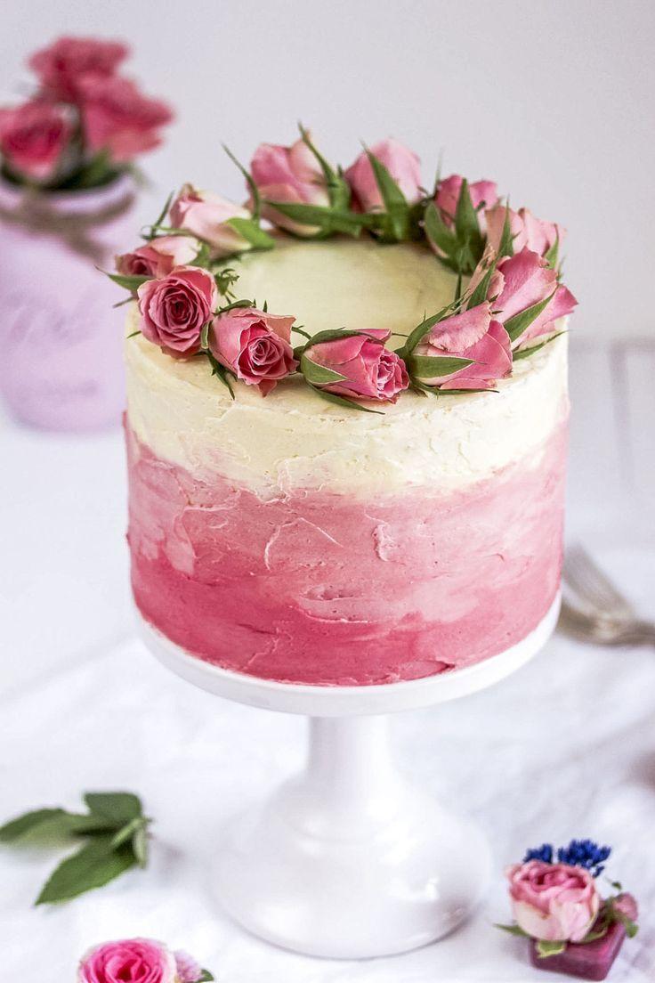 Rezept: Himbeer-Ombre-Torte mit Himbeeren und Rosendekoration zum Muttertag backen Bab …   – Torten