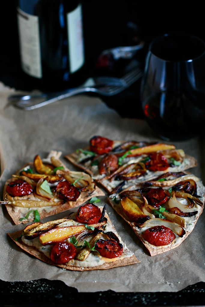 Hummus Tortilla Pizza: White Bean Hummus with FreshBasil and Thyme and Roasted Vegetables