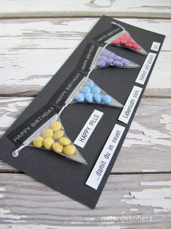 NaturDekoHerz: Happy Pills - DIY Geburtstagskarte