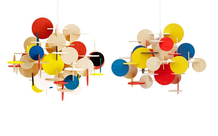 Bau Lamp | A sculptural wooden ceiling lamp of multicolored elements