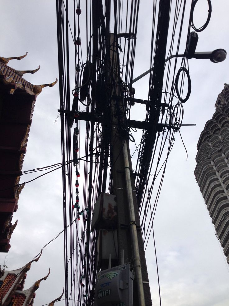 Bangkok wires and temple