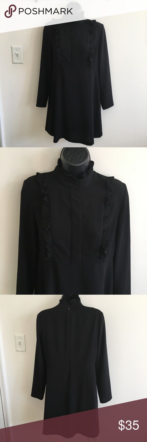 Zara Woman Black Ruffle Dress 🚭 Items from smoke and pet free home 📬Fast same or next day shipping 🚩Any flaws are noted in description/photos ♻️Packaging recycled/reused-please recycle ❓ Please reach out with any questions! 🕶 Like/follow for frequent sales/new inventory 👙Thank you for visiting my closet! Zara Dresses