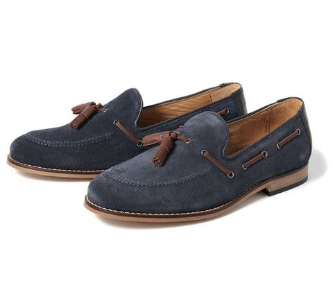 Tuska blue suede mens loafers with tassels by Hudson.