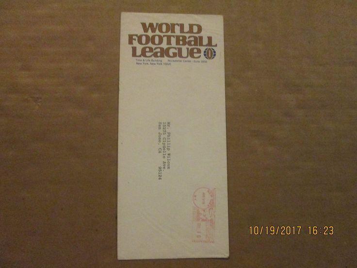World Football League Vintage Defunct Dated 1975 League Logo Business Envelope