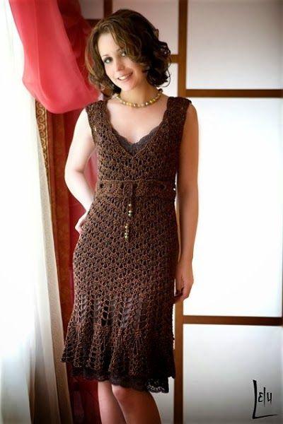 crochelinhasagulhas: Vestido marrom de crochê