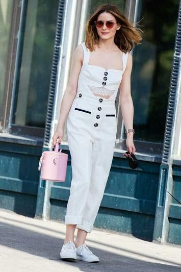 Olivia Palermo wearing Dior So Real Pop Sunglasses in Pink, Kenneth Cole Kam Sneakers and Self-Portrait Button Cutout Jumpsuit
