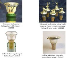 Hallmarked sterling silver bottle stoppers, engraved to your requirements.  6 weeks to deliver