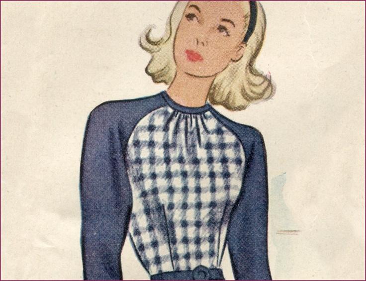 1940s 32 bust raglan sleeved swing dress in FF Factory Fold. $15.00 ...
