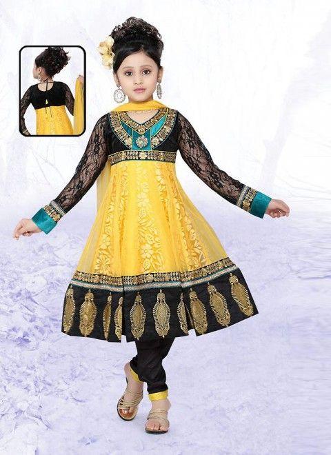 Yellow Net Readymade Designer Kids Salwar Kameez