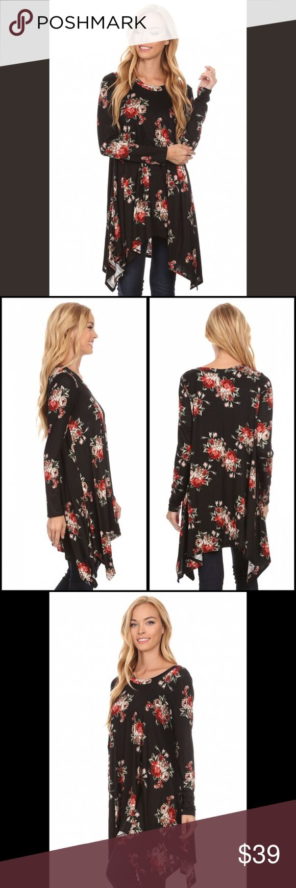 Stunning shark bite hemline floral tunic!! Tuesday Lovely flow and comfort in this stunning autumn  color jet black tunic! arriving Tuesday- ships Wednesday Tops Tunics