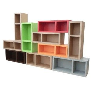 Modular storage or book case O-TECH PM (various colours). Designed by Carton Styl. Available on www.darwinshome.com