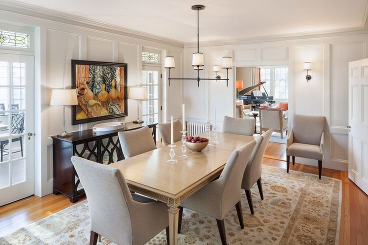Home Accessories: White Curtains In Cozy Beach Style Dining Room Design With Buffet Lamps And Dining Room Chandeliers Also Crown Molding With Dark Wood Buffet And Light Blue Walls Plus Upholstered Dining Room Chairs