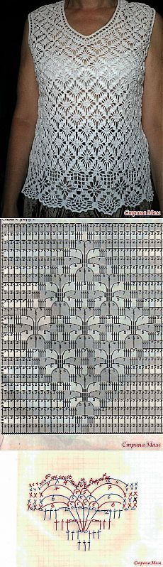 Top bonita openwork crochet. - Forma de malha + para NEMODELNYH SENHORAS - Home Moms