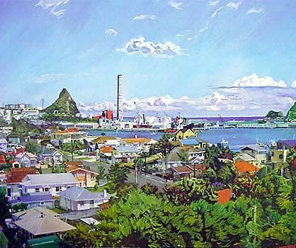 New Plymouth from Kitchener Tce by Marianne Muggeridge for Sale - New Zealand Art Prints