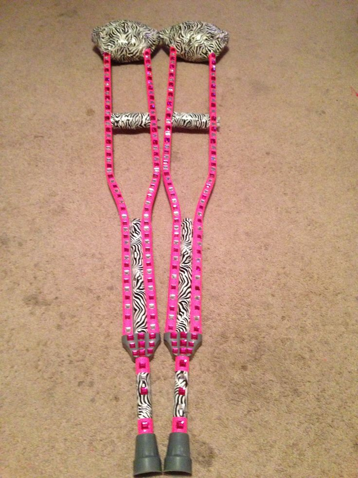 Bling Crutches!! Duck tape, jewels, and a hot glue gun!!