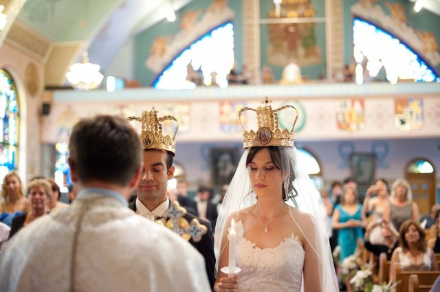 Crowns in Church for Ukranian Wedding