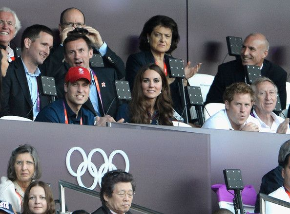 Prince William, Duke of Cambridge, Catherine, Duchess of Cambridge and Prince Harry attend the evening's Athletics events on Day 9 of the London 2012 Olympic Games at Olympic Stadium on August 5, 2012 in London, England.