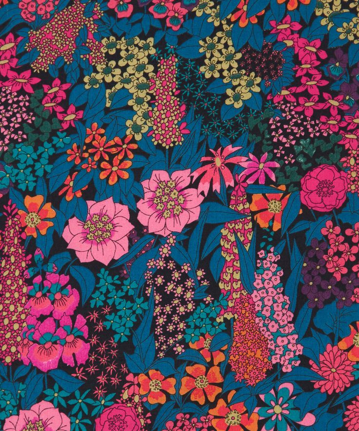 Liberty Art Fabrics Ciara C Tana Lawn Cotton | Fabric in colorful floral pink, blue and orange | Liberty.co.uk