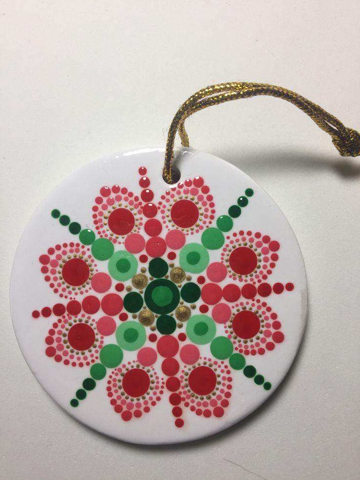 Hand Painted Ceramic Christmas Ornament, Mandala Art, Dot Art, #382 by MafaStones on Etsy