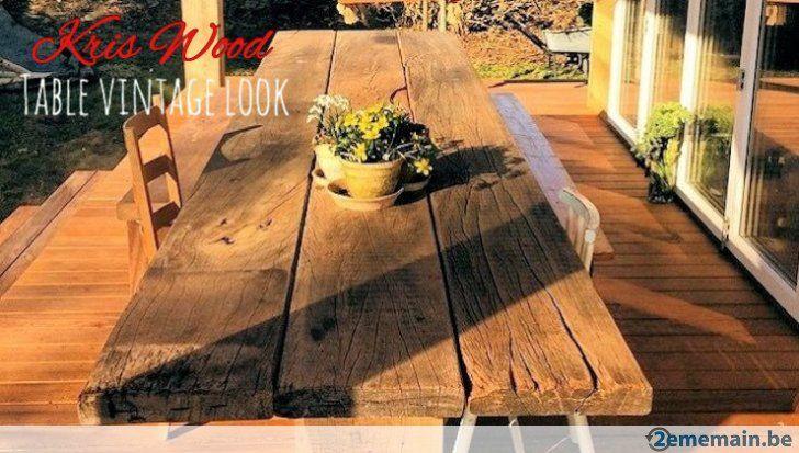 Table robuste bois recup planches style loft retro vintage