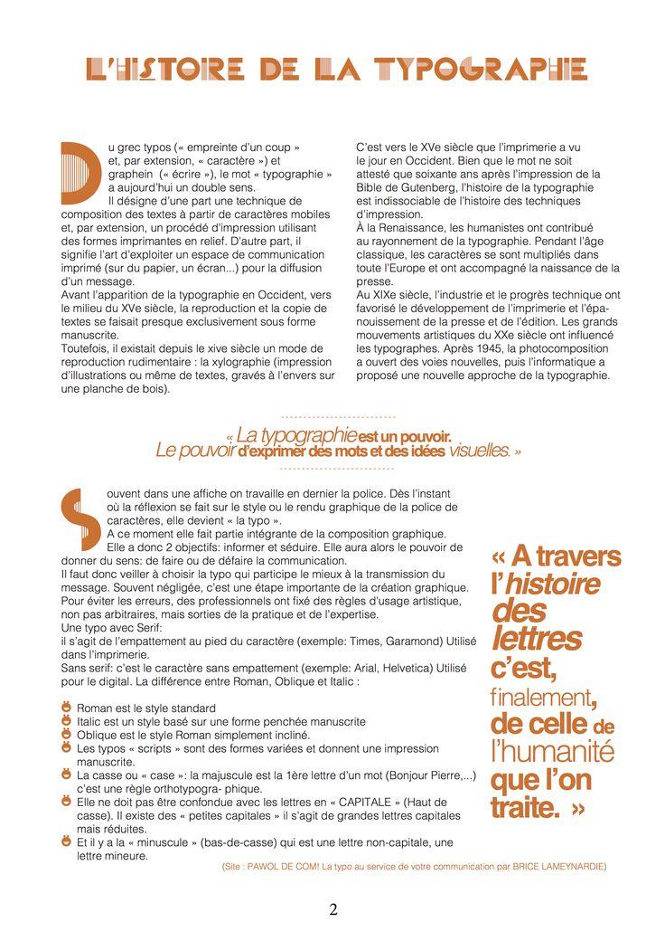 Mise en page dynamique d'un article sur la typographie.