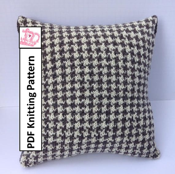 *************** This listing is for a knitting pattern only ***************  Houndstooth Check pillow cover  This two color classic pillow cover pattern is knit in stocking stitch using stranded colorwork. Instructions are given line by line and in chart form.  The pillow cover is knit using worsted/medium/#4/aran yarn with 4mm and 5mm straight needles or size required to make guage.  There is a buttonhole closure on the reverse allowing the cover to be removed for washing or to change…