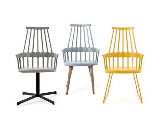 Cadeiracontemporâneacom assento e encosto de plástico. Está disponível em várias cores (branco, preto, vermelho alaranjado, amarelo, cinzento azulado e avelã)