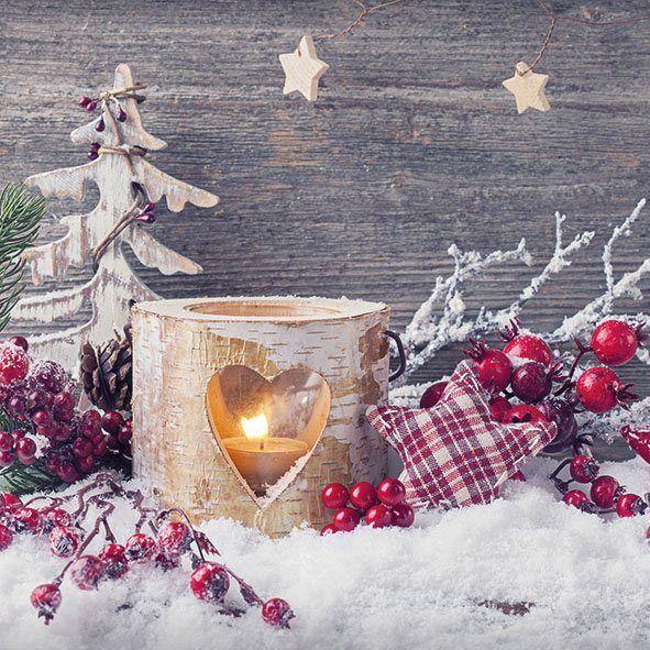Serviette Birken Kerzenlicht Hintergrund Weihnachten Weihnachtsdekoration Weihnachtshintergrund
