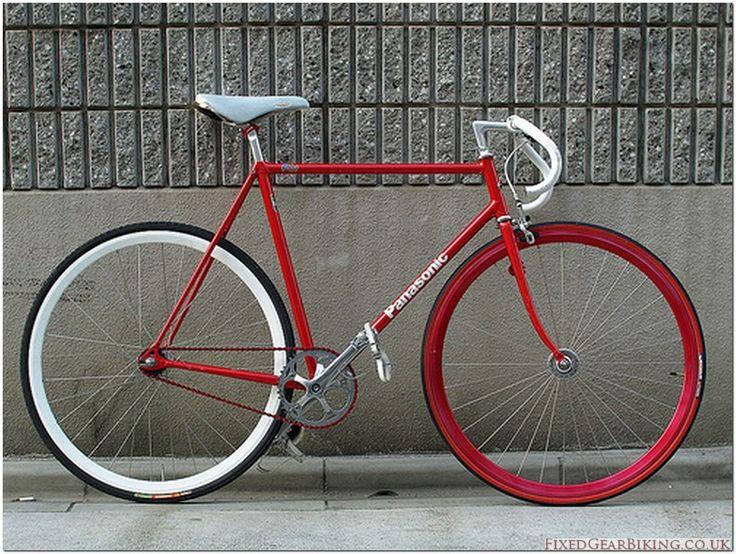 Panasonic Powered red fixed gear bike