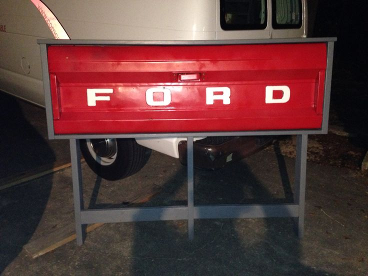 1960's Ford Tailgate Headboard for our teenager's room. Came out awesome!