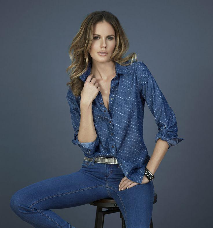 FDJ French Dressing Jeans - Dot Denim Blouse