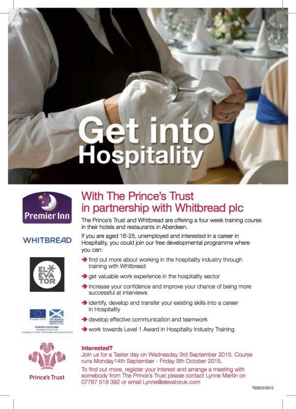 career hospitality the princes trust elevator programme employability