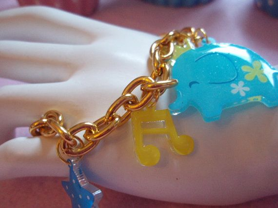 Kawaii Little Blue Elephant And Charms Gold Tone Chain by zefora, $12.00