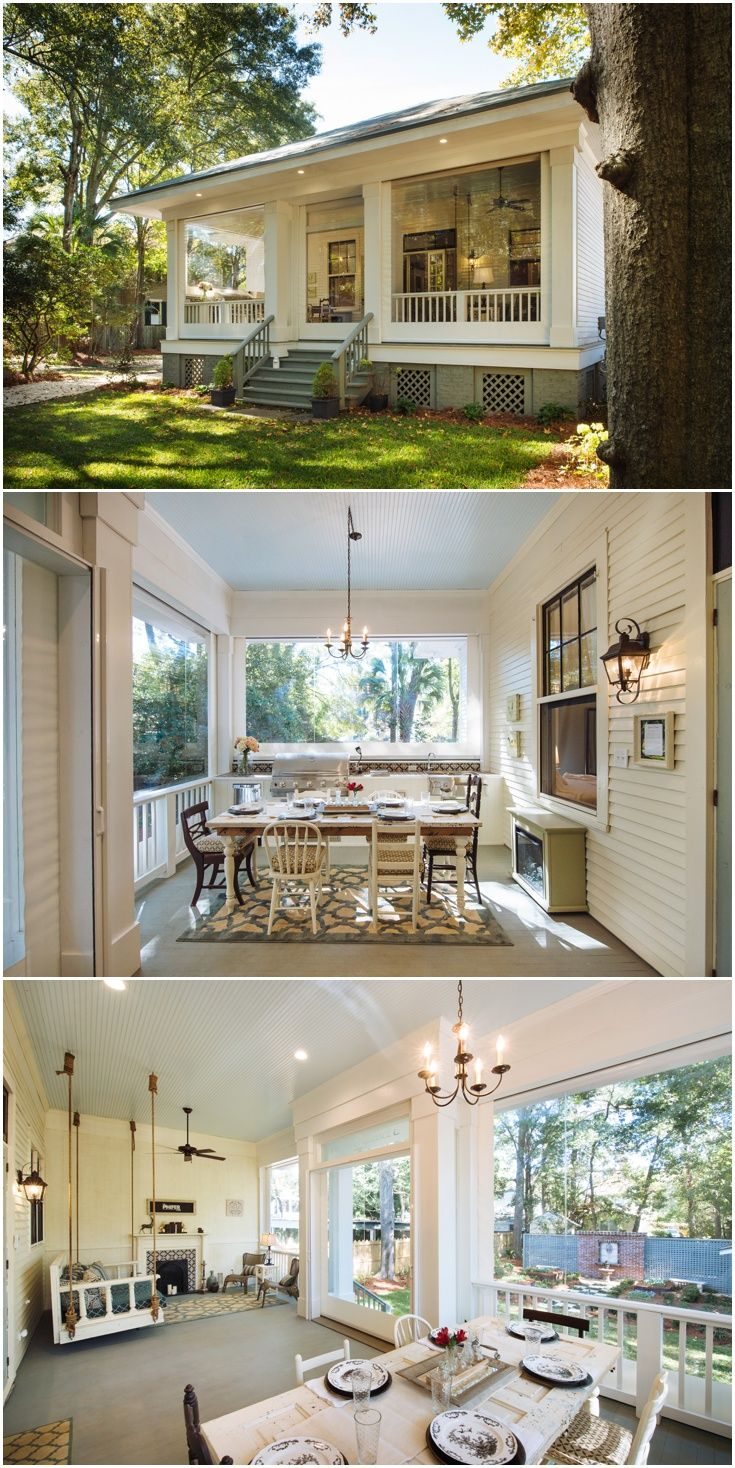 Enclosed Back Porch With Clear Vinyl Motorized Screens Allow You To Use It  Year Round!