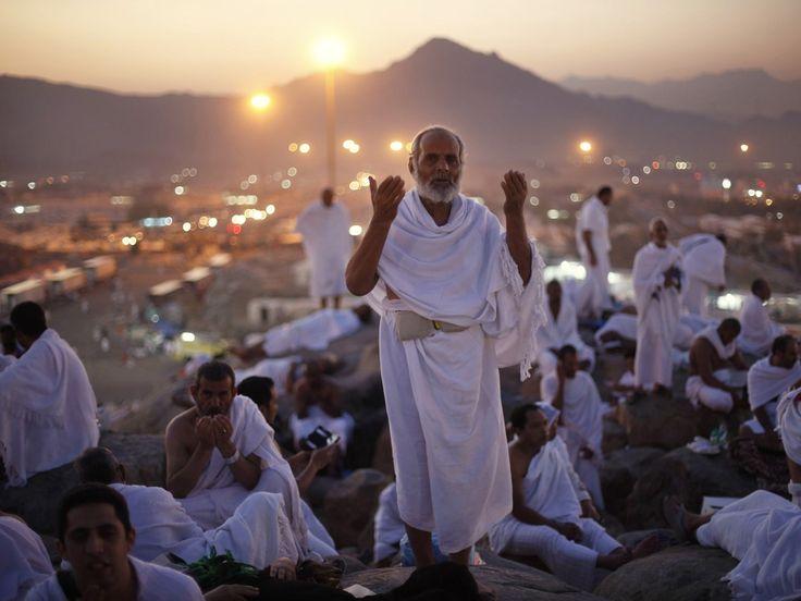 Pilgrims pray on Mount Arafat near the holy city of Mecca, in Saudi Arabia, during the annual hajj pilgrimage Photograph: Ibraheem Abu Mustafa/Reuters