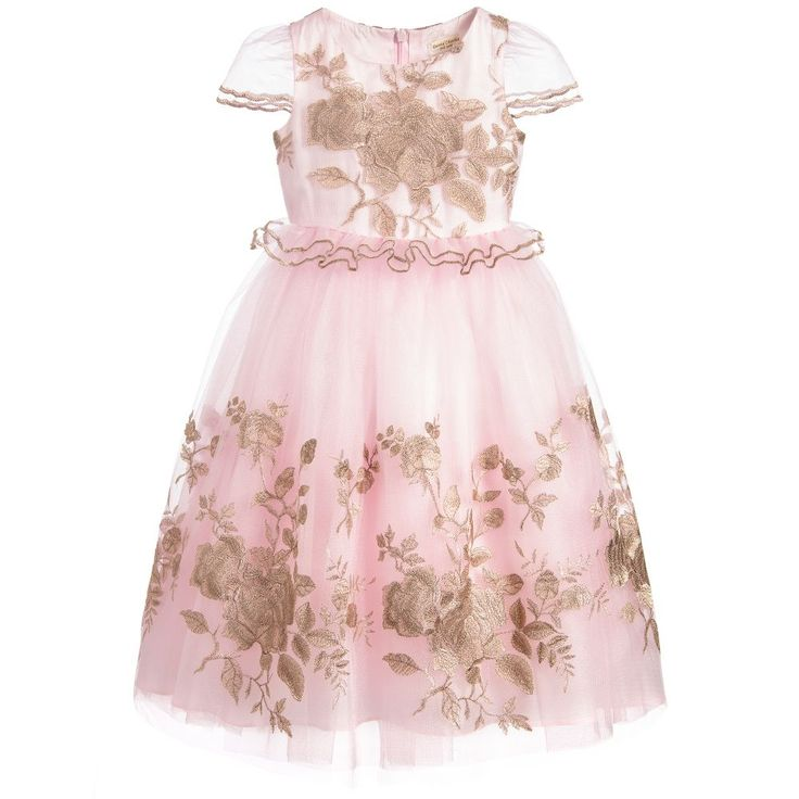 Little girls will feel just like a princess in this full-length David Charles dress, perfect for bridesmaids and other special occasions. The pale pink tulle has a beautiful shimmer and is decorated with gold embroidered flowers. She will love to dance and twirl in the long length voluminous skirt which has silky and tulle layers for added flare.