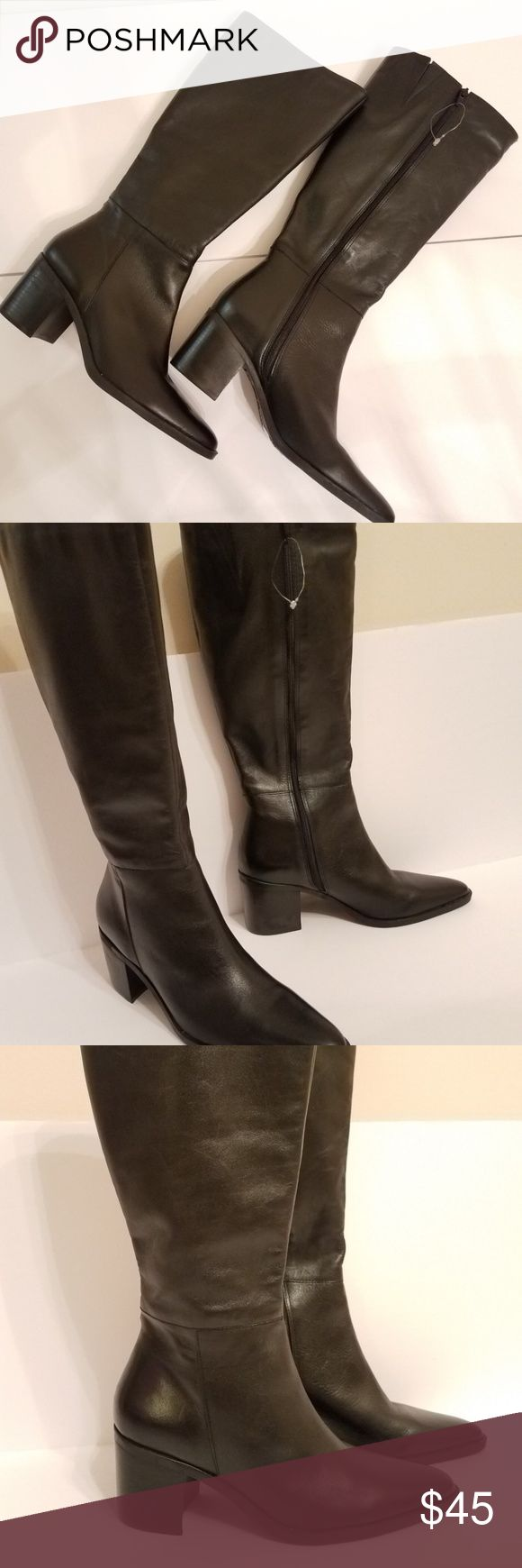 """Elegant Women Riding Black Leather Boots NEW New Without a Box! Elegant Black Leather Riding Boots with synthetic lining. Look amazing with skirts and dresses. This boots don`t fit wide calf. Please see the measurement and double it for the circumference.  Brand: Chinese Laundry Size 6.5 TRUE TO SIZE. Boots are made in Brasil. Measurement: ankle is 4.5"""" across Calf is 7"""" across Heel 2.5"""" From ankle to the top of the boot 10.5"""" From the top to the start of the heel 14"""" Thank you for your…"""