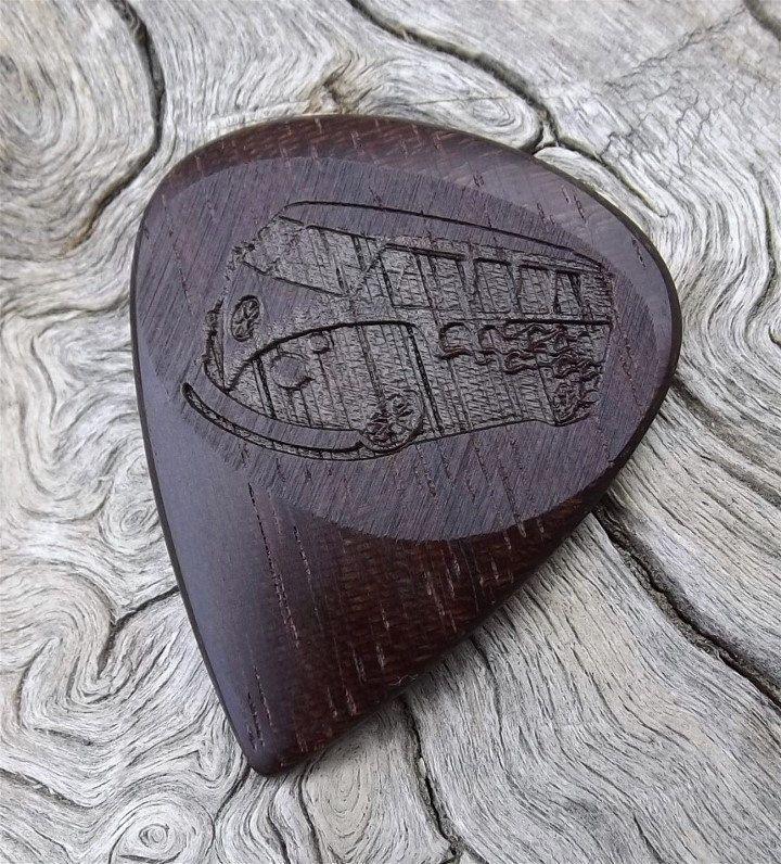 Handmade Brazilian Ebony Premium Wood Guitar Pick - Laser Engraved - Both Sides - VW Bus Design