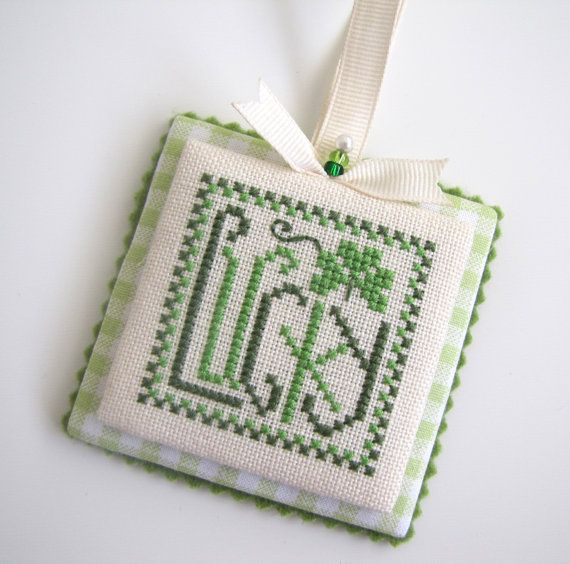 Completed Trail Creek Farm St Patrick's Day Lucky by MamasStitchin, $18.00