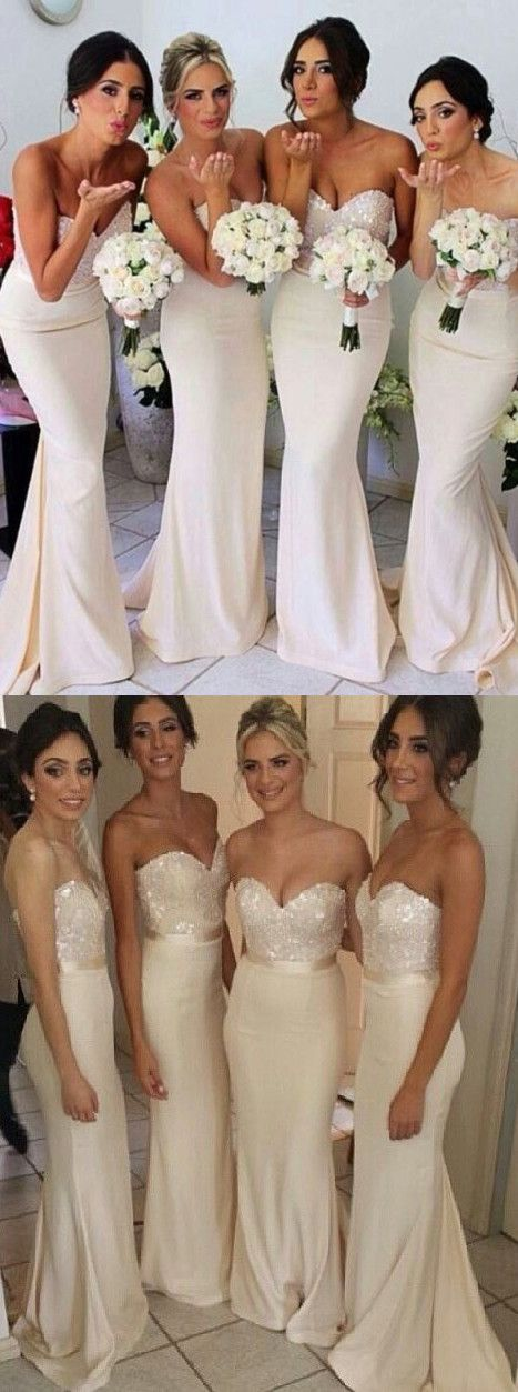 2016 bridesmaid dress, mermaid bridesmaid dress, long bridesmaid dress, strapless bridesmaid dress, wedding party dresses, wedding dresses, ivory wedding dresses