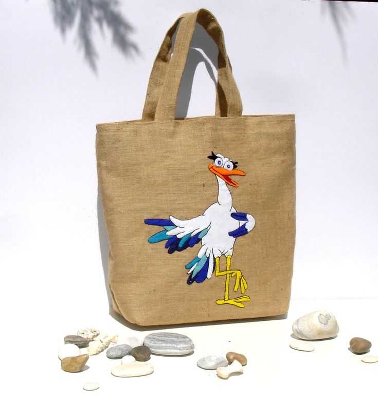 Feathers and Down - by Apopsis.etsy.com #etsy shop: Summer jute tote bag, handmade, hand embroidered and applique with funny pelican ,collectible, eco friendly, unique OOAK item, beach bag http://etsy.me/2Bg8xpX #bagsandpurses