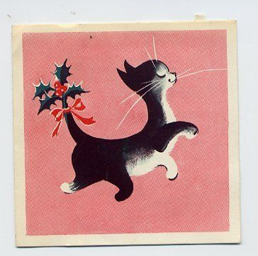 Vintage Christmas Card - prancing tuxedo cat with sprig of holly at the tip of its tail.