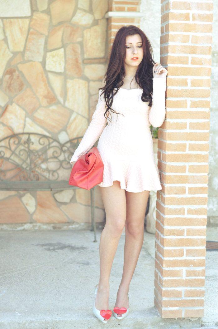 pink dress peach mini dress melissa shoes long hair
