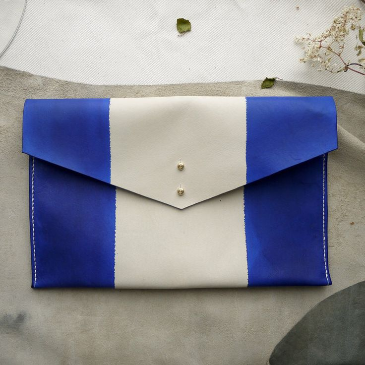 leather hand dyed clutch bag, ipad case, tablet holder, nautical clutch, striped purse, resist dye leather, navy blue, summer nautical bag. by ToriLoDesigns on Etsy https://www.etsy.com/listing/233234927/leather-hand-dyed-clutch-bag-ipad-case
