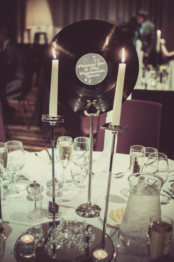 Sixties inspired wedding table decorations