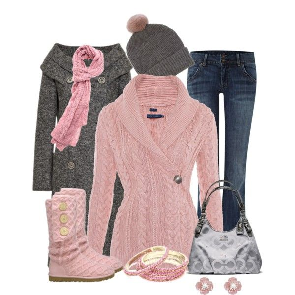 Cute, casual pink and grey outfit for winter.  Untitled #384 by allisonbf on Pol