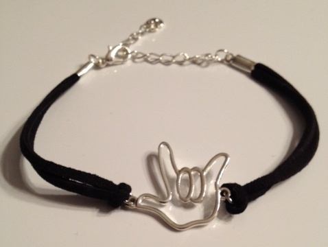 Outline I LOVE YOU hand Bracelet with Black Suede