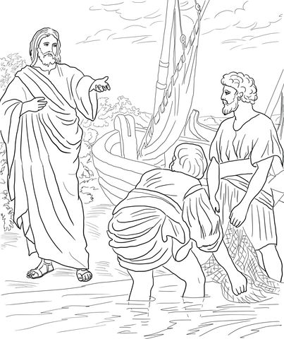 Jesus Calls the First Disciples coloring page Bible Art