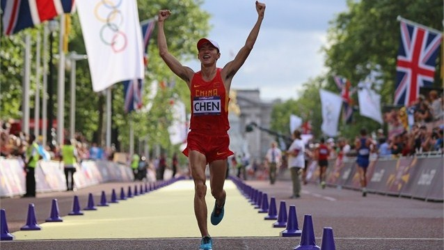 Chen Ding of China celebrates as he crosses the finish line to win gold. #Olympics Olympics